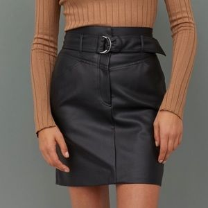 H&M Faux Leather Belted Mini Skirt